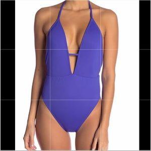 Bikini Lab Solid Plunge Shirred One-Piece